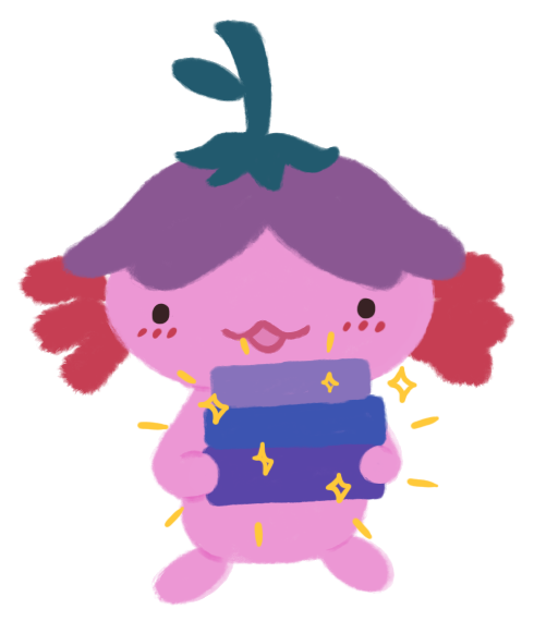 Illustration of Xiaolong the pink axolotl, wearing an upside down flower hat, holding a stack of sparkling books.
