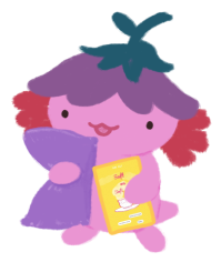 Xiaolong the pink axolotl, wearing a purple flower hat, holding a soft pillow and a book 'Soft on Soft' to her chest.