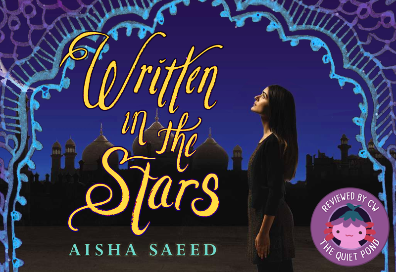 Text: Written in the Stars by Aisha Saeed. Image: A brown girl with long dark hair wearing a simple brown and black salwar kameez, looking up into the dark blue night sky.
