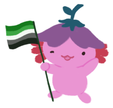 Xiaolong the pink axolotl, wearing an upside down flower hat, waving at you and holding an aromantic flag (five horizontal stripes: dark green, light green, white, grey, black).