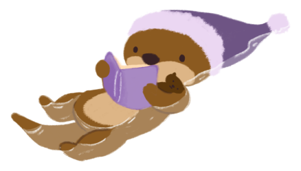 Cuddle the brown otter, wearing a purple pajama cap, reading a book while floating in the water, holding Party, the otter plushie, in her arm.