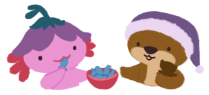 Xiaolong the pink axolotl, wearing a purple flower hat, eating a blue fish treat, passing a bowl of blue fish treats to Cuddle, the brown otter.