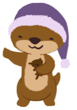 Cuddle the brown otter, holding Party the otter plush and wearing a purple pajama cat, waving at you.