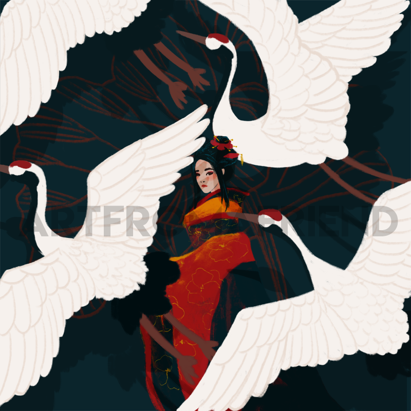 Hesina in gold and red hanfu, surrounded by cranes taking flight.