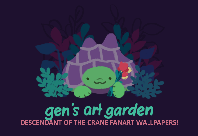 Text: Gen's Art Garden, Descendant of the Crane Fanart Wallpapers. Image: An illustration of Gen the tortoise, holding some flowers and smiling.