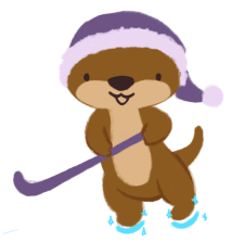 Cuddle the Otter, wearing her pajama cap, holding a hockey stick and wearing magical ice skates.