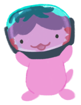 Xiaolong the pink axolotl, wearing a big glass helmet over her head as a cosplay of Jason Zhou from WANT by Cindy Pon.