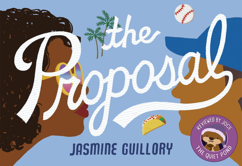Text: The Proposal, Jasmine Guillory. Background images: An illustration of the profile of a dark-skinned woman with natural hair, wearing glasses facing the right, and the profile of a brown-skinned man wearing a blue cap, facing the left.