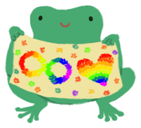 Varian the green toad, holding up a fabric with a rainbow infinity symbol and rainbow heart stitched into it.