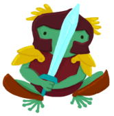 Varian the green toad wearing armour, holding a sword in front of them.
