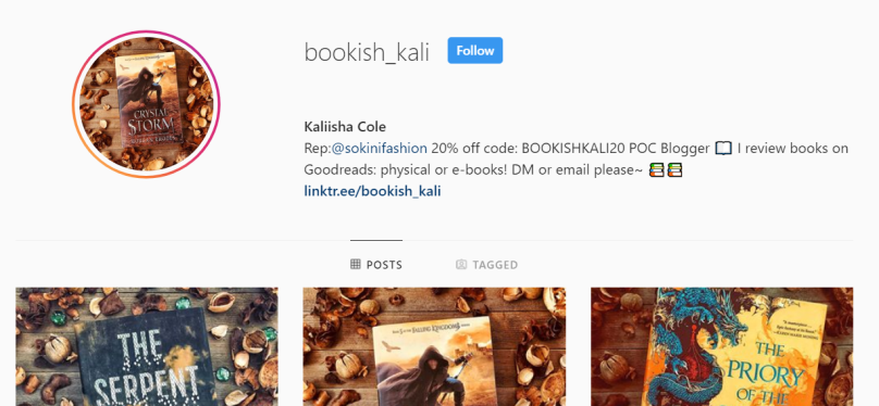 Screenshot of @bookish_kali instagram page.
