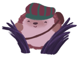 Amina the hedgehog, wearing a red and green hat, pushing grass aside, smiling.