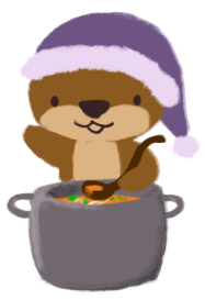Cuddle the otter, wearing a pajama cap, is holding a ladle with a pot of orange-coloured soup in front of her.