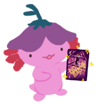 Xiaolong the axolotl, holding up a copy of NOT YOUR BACKUP by C.B. Lee and smiling