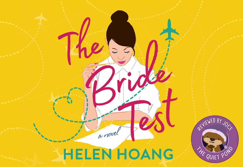 Text: The Bride Test, a novel, Helen Hoang. Image: An illustration of a woman holding a pencil, completing pencils.