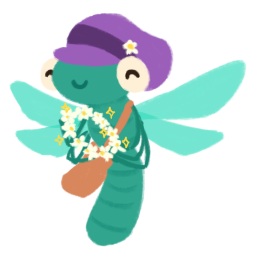 Stella the dragonfly wearing a purple newsy cap, holds up a flower crown to you.