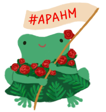 Varian the toad wearing a green leafy dress, with red flowers. Holding a flag with the words #APAHM on the flag.