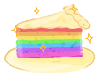 An illustration of a rainbow cake on a plate.