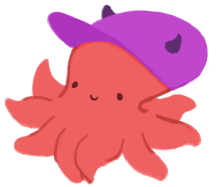 An illustration of a pink octopus, wearing a purple cap with horns.