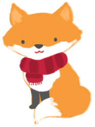 An illustration of an orange fox, wearing a red scarf.