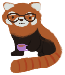 An illustration of a red panda, wearing glasses and hoping a cup of tea.