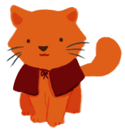 An illustration of an orange cat, wearing a red cape.
