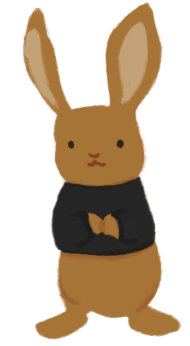 An illustration of a brown rabbit, wearing a black shirt.