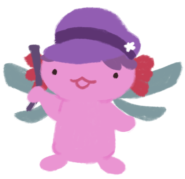 Xiaolong the pink axolotl, dressed up as Stella the Dragonfly; wearing a purple newsy cap, dragonfly wings, and holding up a roll of newspaper.