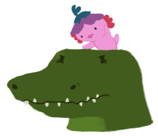 An illustration of a grumpy looking crocodile, with Xiaolong the pink axolotl wearing a purple hat, perched on top of the crocodile's head, talking to her.