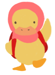 Adiba Jaigirdar as a hijabi yellow duckling, wearing a red backpack.