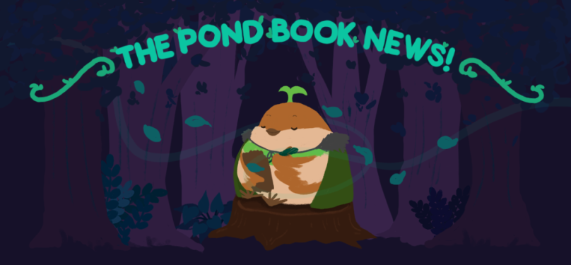The Pond Book News, with Sprout the sparrow, closing their eyes and listening to the trees.