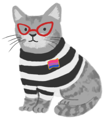 Gabriela Martins as a gray tabby, wearing a black and white tshirt and red glasses, with a bi flag pin attached to the shirt.