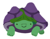 Gen, the green and purple tortoise, wearing a leaf hat.