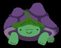 Gen, the green and purple tortoise, wearing a leaf hat.