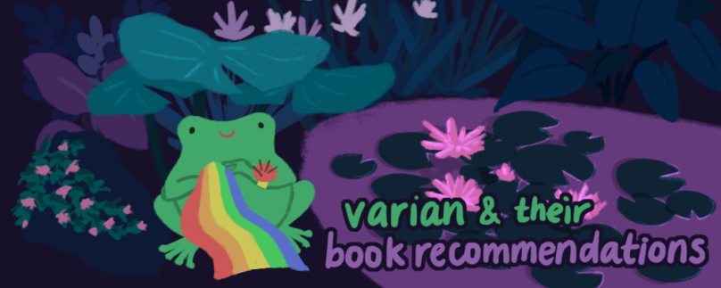 varian and their book recommendations. illustration of varian, a green toad, sewing a rainbow cloth next to the pond.