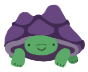Gen, the green tortoise with a purple shell, smiling.