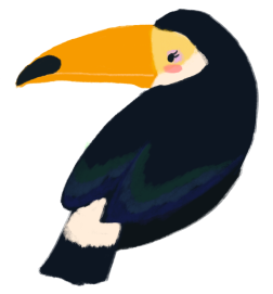 Julia Rios as a toucan with gender queer tinted wings and wearing make up.