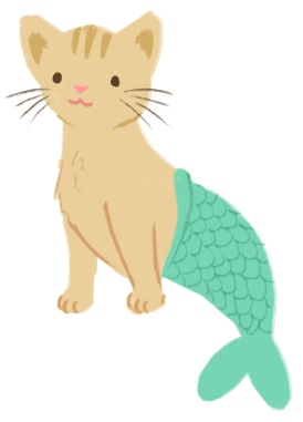 Kess Costales as a mer-cat (body of a cream tabby) with a mermaid tale.