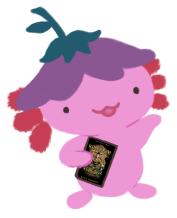 Xiaolong the axolotl, gesturing with her arm up, holding onto a copy of Kingdom of Souls by Rena Barron.