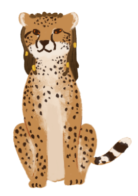 Rena Barron as a cheetah with dark brown locs (hair) with golden beads.