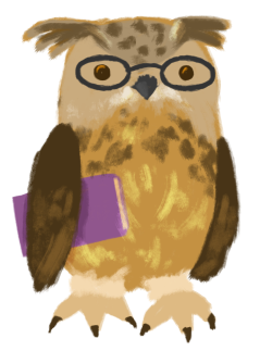 Shenwei Chang as a brown eagle owl, wearing glasses and holding a book under their wing.