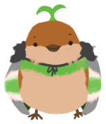 Sprout the sparrow, wearing an agender-coloured cape (dark grey, grey, white, green, white, grey) with a little green sapling on their head.