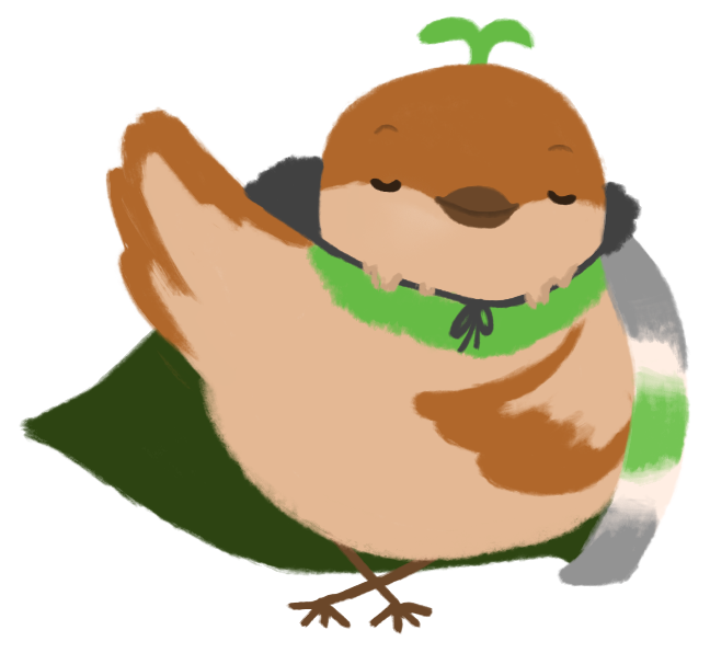 Sprout the sparrow, doing a curtsy with their eyes closed and a smile on their face. Their cape swooshes in the wind with their arm extended in their curtsy.