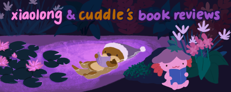 Xiaolong & cuddle's book reviews. Illustration of Xiaolong the pink axolotl reading a book by the Pond, and Cuddle the otter, reading and floating on her back in the pond water.