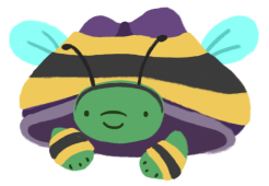 Gen the tortoise, wearing a bee costume, with a yellow/gray sweater over his shell and wearing yellow/gray leg warmers, and wearing an antenna headband.