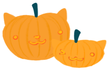 Illustration of pumpkins with kawaii faces carved on it.