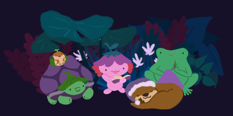 An illustration of the Pond friends sitting in a circle. Xiaolong the pink axolotl is reading a book, Gen the tortoise is sitting with his hands tucked in with a smile, Sprout the sparrow is sitting on Gen's shell, Varian the toad is sewing and listening, and Cuddle the otter is curled into a ball, eyes closed with a smile.