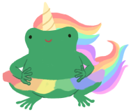 Varian the toad wearing a rainbow unicorn costume and a rainbow skirt.