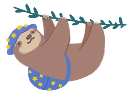 Castor the three-toed sloth, wearing a blue bucket hat and a backpack, climbing a vine.