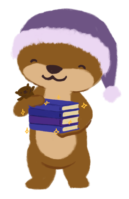 Cuddle the otter, wearing a pajama hat, holding a stack of sparkling books with Party the stuffed otter in her arm.